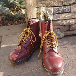 Red Dr Marten combat boots